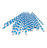 Blue and white paper straws scattered.