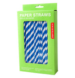 White and blue paper straws in a green box