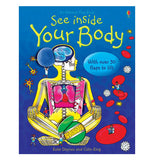 "The ""See inside Your Body"" Lift-the-Flap is a blue book with a human skeleton showing the organs."