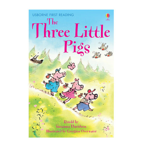 Three little pigs childrens book with the three little pigs traveling.