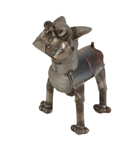 A scrap metal sculpture of a Boston terrier. The head tilts upwards.
