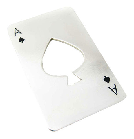 Bottle opener shaped like an ace of spades playing card.
