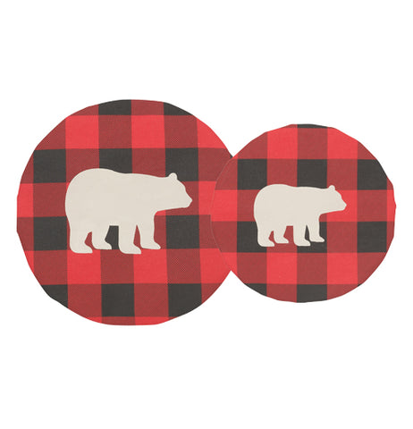 "Each of this set of 2 ""Buffalo Check Bear"" bowl covers has a design of a white silhouette of a bear over a black and red plaid pattern."