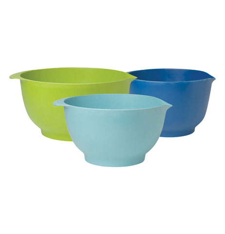 These three bamboo bowls are different sizes and colors; the biggest is green, the medium is dark blue, and the smallest is light blue.