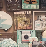 "The ""Stay Wild"" box sign with the cactus picture is shown hanging on a wall with some other wooden box signs."