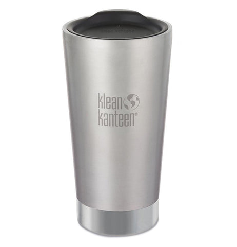 "This tall silver stainless steel cup has its logo, ""Klean Kanteen"" in the middle in gray lettering."