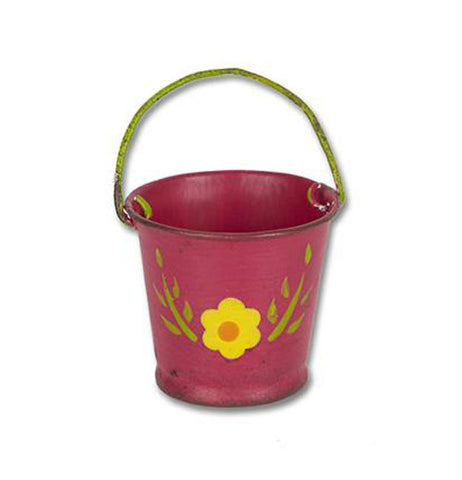 Pink mini garden bucket with a yellow flower, green stem and leaves and a green handle.