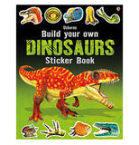 The front cover of the book has a red Allosaurus on it with pictures of some of the stickers in the book along the top and bottom showing various Dinosaur body parts.