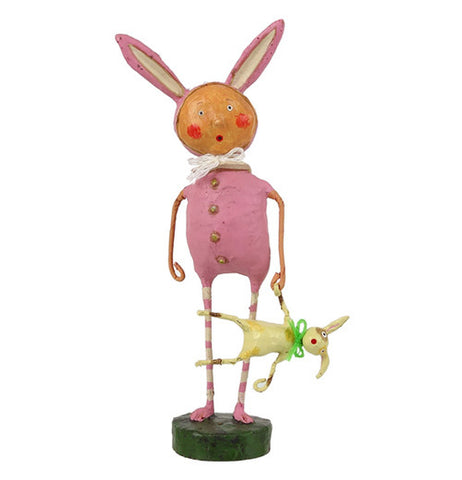 Pink Bunny Skins Figurine Holding A Yellow Bunny