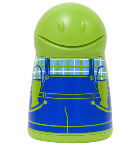 A butter dispenser that is lime green and shaped like a boy in overalls.