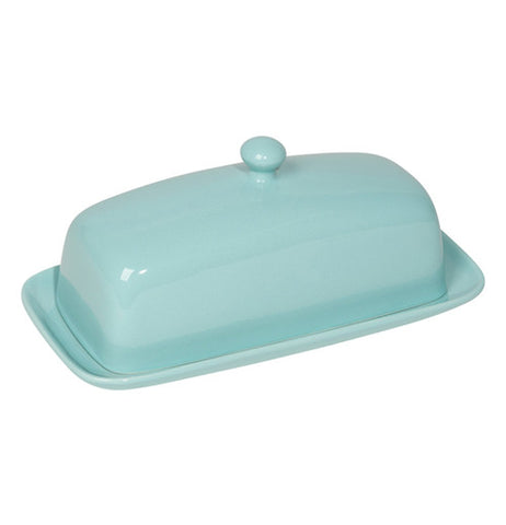 Eggshell ceramic two piece butter dish with a round knob on top of the cover.
