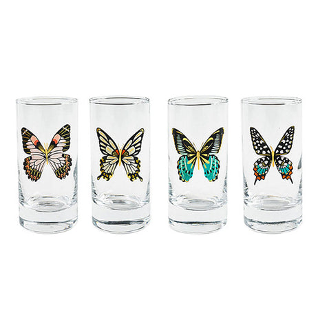 Four unique glasses in a row with a single butterfly on each.