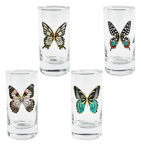 Four unique glasses with a single butterfly on each.
