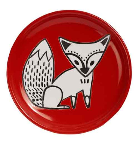 "Round ""Red Fox' cuppa color coaster with white and black fox design on white background."