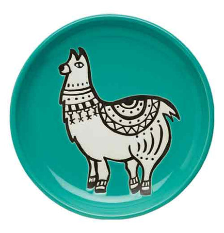 "Round ""Teal Llama"" coaster with white and black llama design on white background."