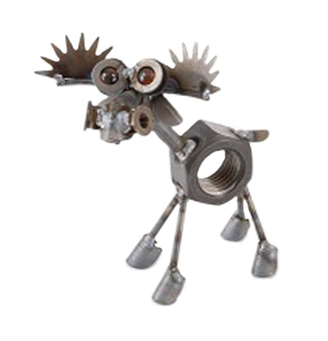This is a miniature metal sculpture of a moose that has a nut for a body along with two antlers, yellow marbles for eye balls, a short tail, and a set of large hooves.