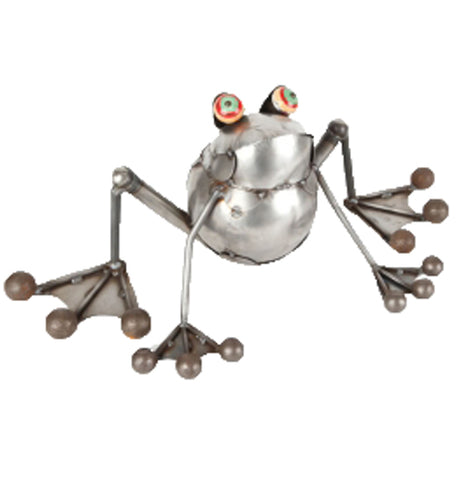 This is a metal sculpture of a toad preparing to hop.