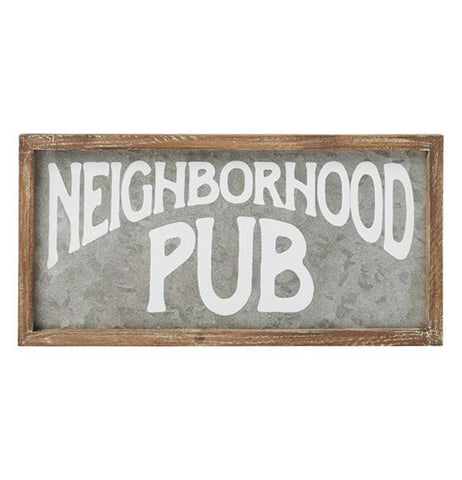"This galvanized metal sign has a wooden frame. The words, ""Neighborhood Pub"" take up most of the galvanized metal center in white lettering."