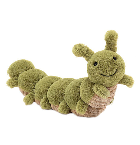 A green caterpillar plush toy appears to be standing on its' back ten legs, with its' front two legs in the air. Its' belly is brown.