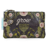 "This dark gray coin purse has a design of yellow-green leaves and pink flowers. In the middle of the purse, in white lettering, is the word ""Grow""."