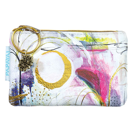 "The ""Brushstrokes"" Coin Purse features a gold foil, purple, yellow, and red design over a white background."