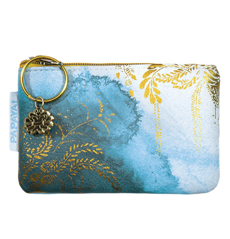 "The ""Catalina Watercolor"" Coin Purse features a gold foil plant design over a light blue watercolor background."