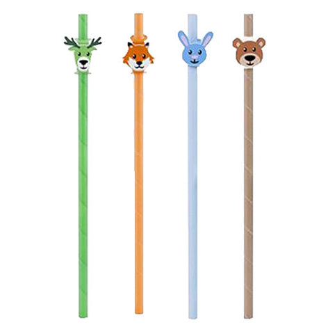 Four colorful straws with animal faces at the top.