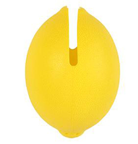 Yellow plastic lemon squeezer in the shape of a lemon.