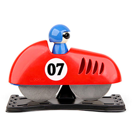 Red pizza slicer shaped like a racing car with the number 07 with a blue person driving.