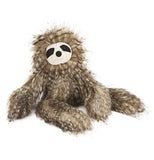 This is a stuffed sloth animal with long straight brown fur.