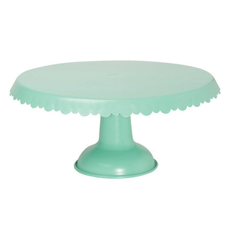 Aqua metal cake stand with a drape design.