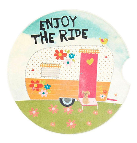 "Car Coaster that says ""Enjoy the ride"" with camper."