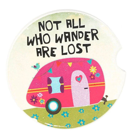 "Car Coaster that says ""Not all who wander are lost"" with pink camper."