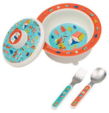 This Baby Bowl Set features multi-colored camping equipment on its bottom interior and the top of its lid. A fork and spoon sit next to the bowl with the same designs for their handles.