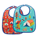 These two baby bibs have a camping theme. One has a blue background the other has a red background