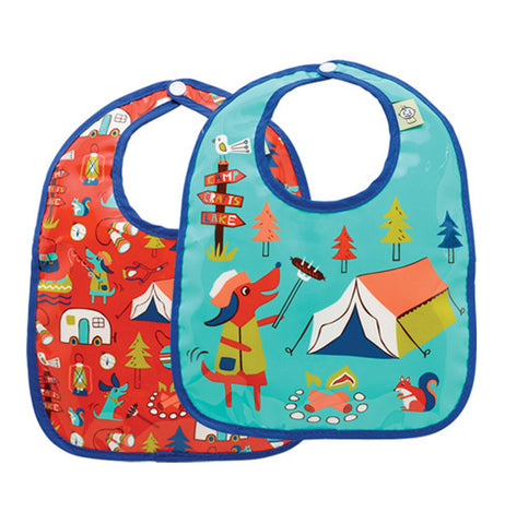 "Baby Bibs (Set of 2) ""Happy Camper"""
