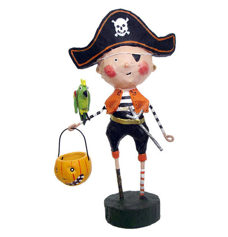 This figurine is of a young boy dressed as a pirate with a sword, hat, and eyepatch. The boy holds a pumpkin shaped Trick Or Treat pail and a parrot sits on his arm.