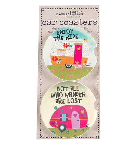 "The 'Angel Bless"" (Set of 2) Car Coasters features campers and the sentiments 'Not All Who Wander Are Lost"" on one and ""Enjoy the Ride"" on the other."