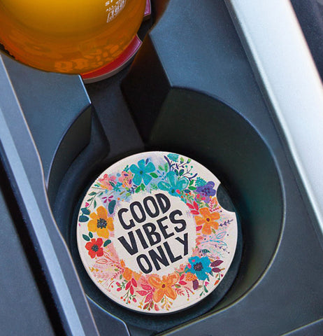 "The ""Good Vides Only"" (Set of 2) Car Coasters sits well in the cup holder of the car."
