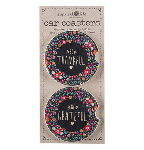 "The ""Thankful & Grateful"" (Set of 2) Inspirational car coasters in original  packaging."