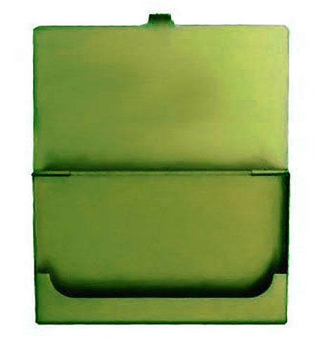 Green metal business card holder laid open with a lip to keep cards in place