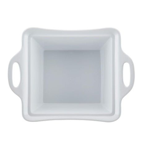 "Top view of ""White Square"" 2.5 quart casserole dish with lid off and white handles."