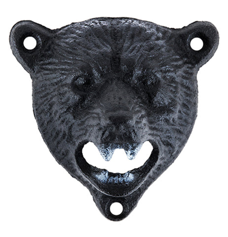 Bottle opener in the shape of a black bear head.