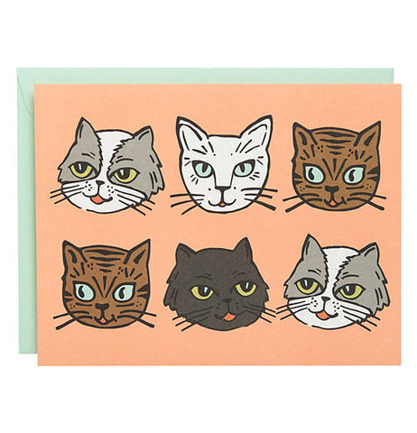 Cat faced Cards there's grey, brown, white and black cat faces.