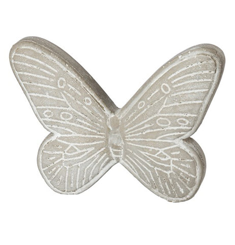 Cement butterfly painted with beautiful design.