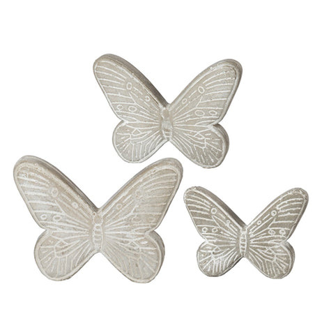 Set of three beautiful cement butterflies