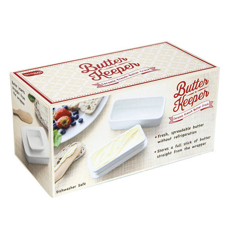 Box displaying the use of the butter keeper.