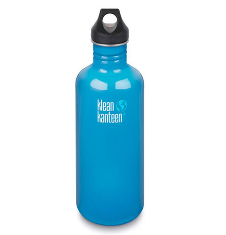Baby blue 40oz stainless steel klean canteen with a black screw on lid.