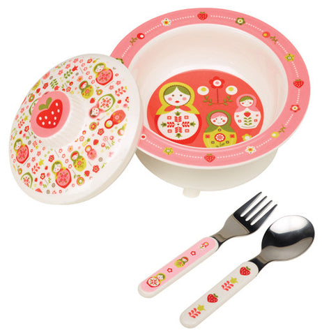 4 piece bowl set pink matryoshka doll baby theme comes with bowl, lid, spoon and fork.