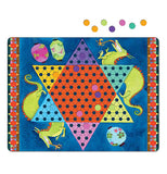 "The ""Chinese Checkers"" Magnetic Game has a checker board with flying dragons on the blue background with colorful magnetic playing pieces."